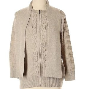 St John Womens Knit  Cardigan Sweater with shawl